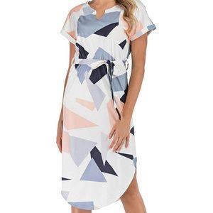 Patchwork Geometric Midi Dress